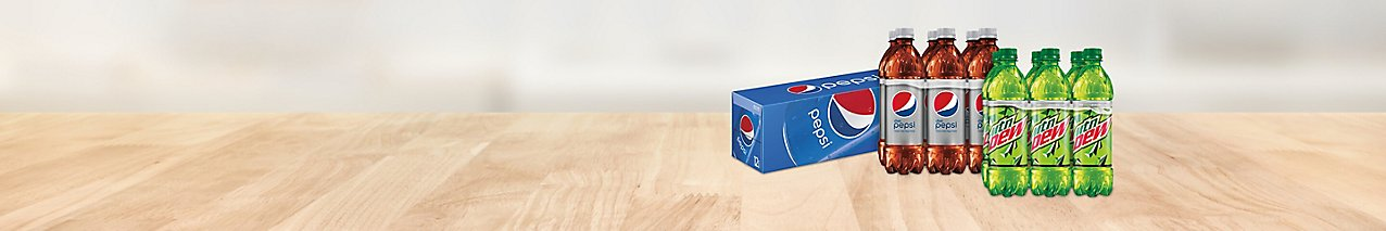 Get a deal on 12 packs and 6 packs of regular & diet Pepsi and regular & diet Mountain Dew.