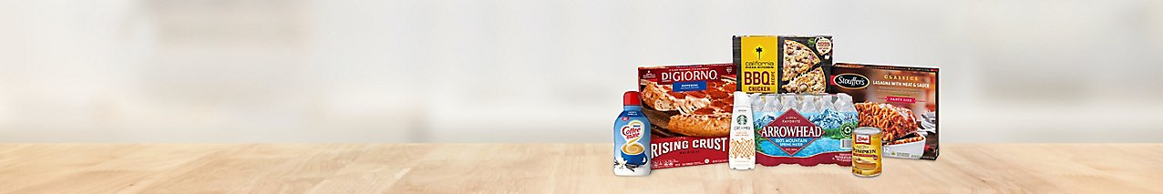 Enjoy a delivery deal on flavored coffee creamer, frozen pizza, Stouffer's party-size lasagna, and 24-pack spring water.
