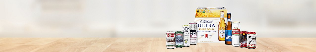 Get Budweiser 6-packs, fruit-flavored seltzers by BON V!V and Bud Light, and more.