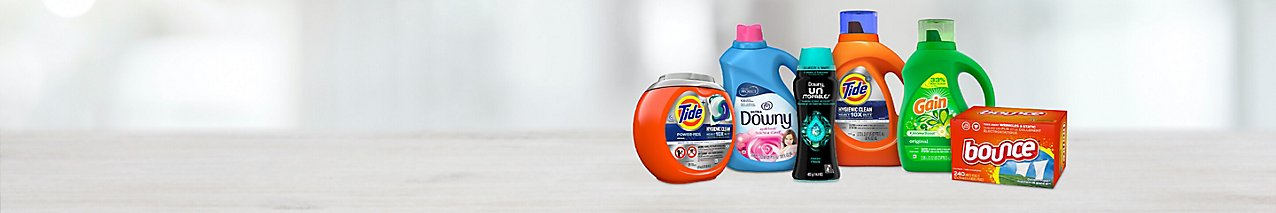 Save on select Procter & Gamble laundry products, like Tide POWER PODS, Downy Fabric Softener and Bounce dryer sheets.
