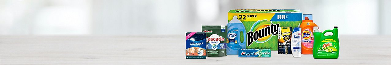 Get popular household brands for less: Tide, Bounty, Head & Shoulders, Crest, Dawn, and more.