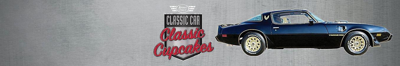Jewel Osco Classic Cars and Cupcakes sweepstakes logo with a 1979 Pontiac Trans Am