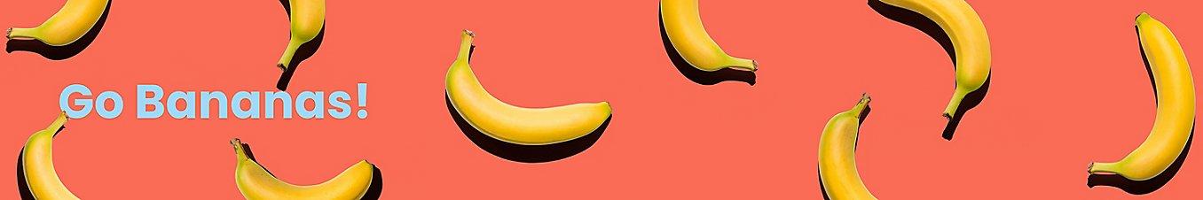 Bananas on Salmon Background
