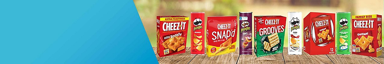 Save on a variety of select Cheez-It and Pringles brand snacks.