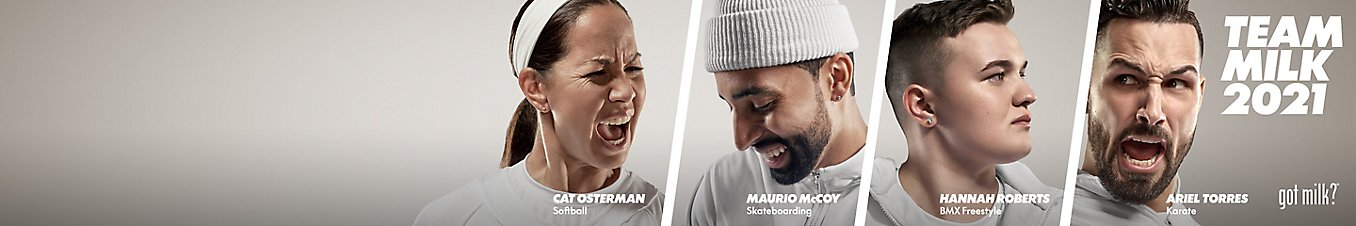 Team Milk 2021: Cat Osterman (Softball), Maurio McCoy (Skateboarding), Hannah Roberts (BMX Freestyle), Ariel Torres (Karate)