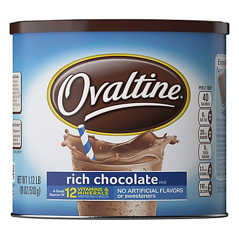 Ovaltine Powder Drink Mix Rich Chocolate - 18 Oz