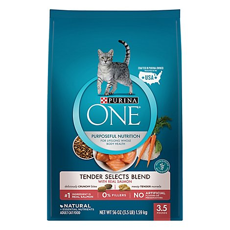 Purina ONE Smartblend Dry Cat Food Premium Adult Salmon & Tuna Flavor - 3.5 Lb