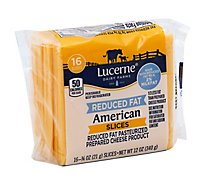 Lucerne Cheese Slices Pasteurized Prepared American Reduced Fat - 16-0.75 Oz