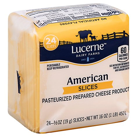 Lucerne Cheese Slices American - 24 - 0.67 Oz