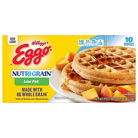 Eggo Nutri Grain Waffles Whole Grain Low Fat 10 Count - 12.3 Oz