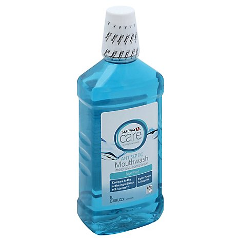 Signature Care Mouthwash Antiseptic Blue Mint - 33.8 Fl. Oz.