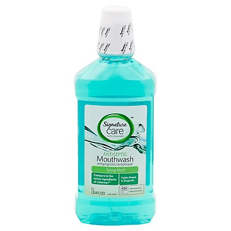 Signature Care Mouthwash Antiseptic Spring Mint - 33.8 Fl. Oz.