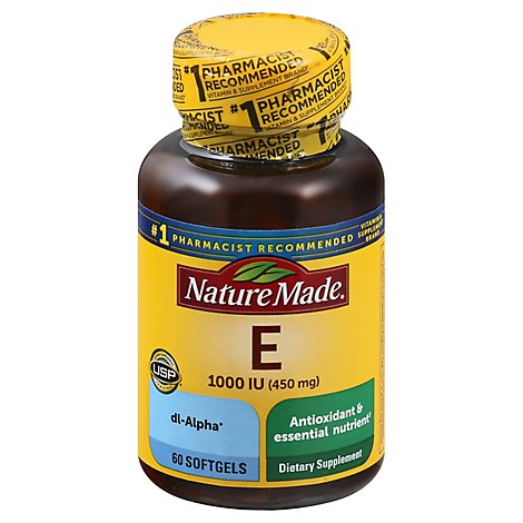 Nature Made Dietary Supplement Softgels Vitamin E 1000 IU dl-Alpha - 60 Count