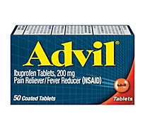 Advil Pain Reliever/Fever Reducer Coated Tablet 200mg Ibuprofen Temporary Pain Relief - 50 Count