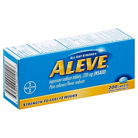 Aleve Naproxen Sodium Tablets 220mg Pain Reliever Fever Reducer - 200 Count