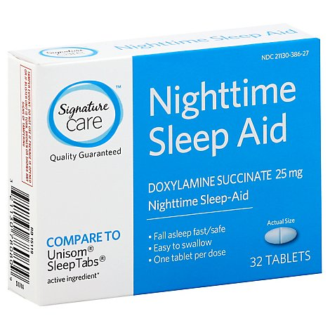 Signature Care Nighttime Sleep Aid Doxylamine Succinate 25mg Tablet - 32 Count