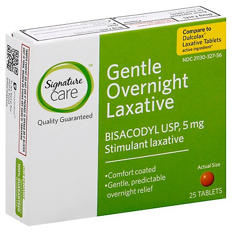 Signature Care Gentle Overnight Laxative Bisacodyl USP 5mg Tablet - 25 Count