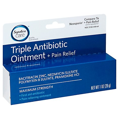 Signature Care Antibiotic Ointment Triple + Pain Relief First Aid Maximum Strength - 1 Oz