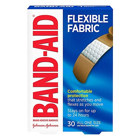 BAND-AID Brand Adhesive Bandages Flexible Fabric All One Size - 30 Count