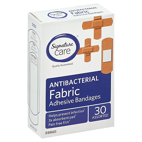 Signature Care Adhesive Bandages Fabric Antibacterial Assorted - 30 Count