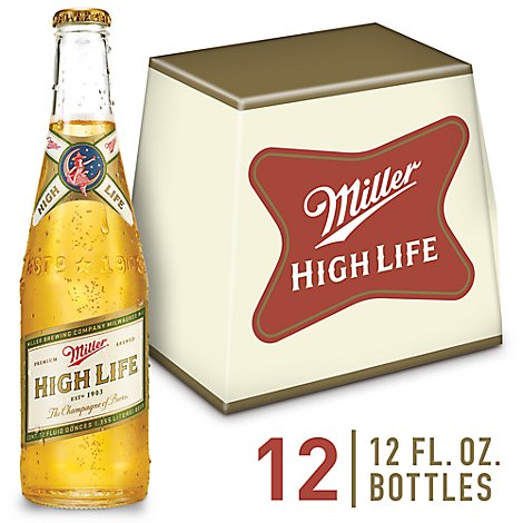 Miller High Life Beer American Lager 4.6% ABV In Bottles - 12-12 Fl. Oz.