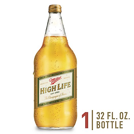 Miller High Life Beer Lager 4.6% ABV In Bottle - 32 Fl. Oz.