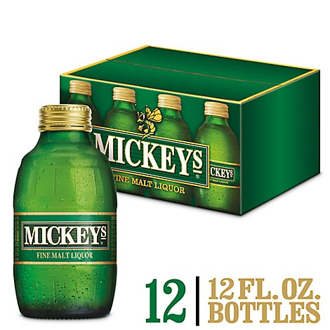 Mickeys Fine Malt Liquor Ale Beer Bottles 5.6% ABV - 12-12 Fl. Oz.