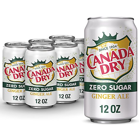 Canada Dry Soda Zero Sugar Ginger Ale In Cans - 6-12 Fl. Oz.