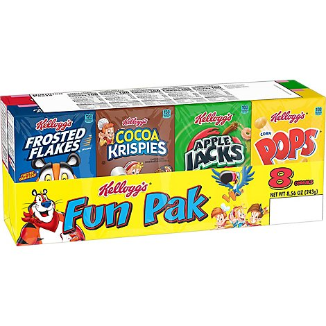 Kelloggs Cereals Assorted Fun Pack 8 Count - 8.56 Oz
