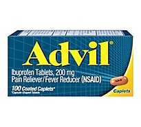 Advil Pain Reliever Fever Reducer Coated Caplet Ibuprofen Temporary Pain Relief - 100 Count