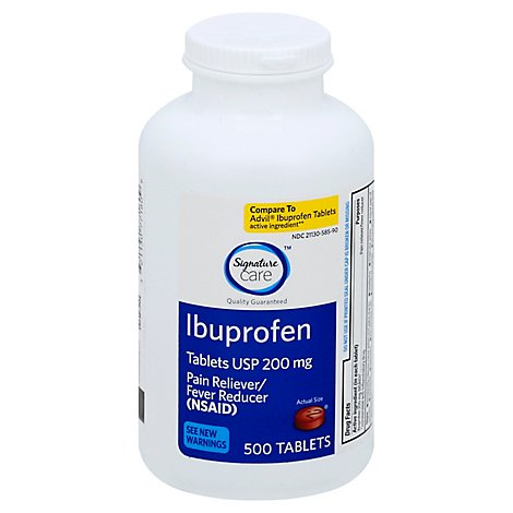 Signature Care Ibuprofen Pain Reliever Fever Reducer USP 200mg NSAID Tablet Blue - 500 Count