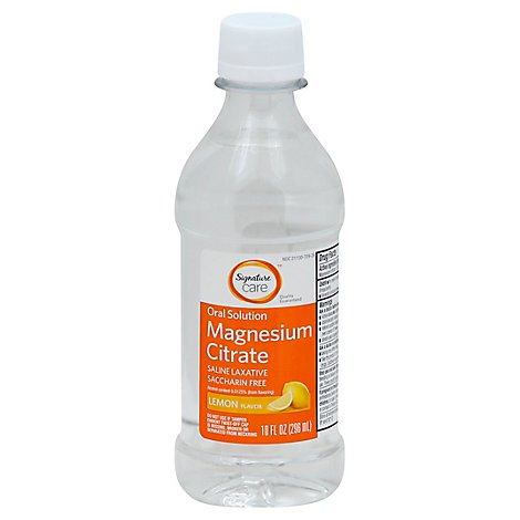 Signature Care Magnesium Citrate Oral Solution Saline Laxative Lemon Flavor - 10 Fl. Oz.