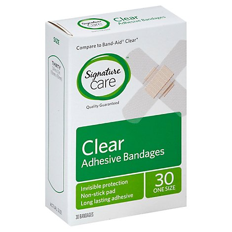 Signature Care Adhesive Bandages Clear One Size - 30 Count