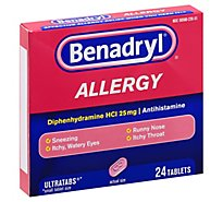 Benadryl Allergy Tablets 25mg Ultratabs - 24 Count