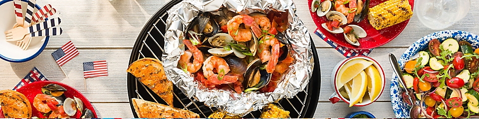 Grilled seafood and a side salad