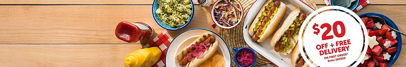 Hot dogs and sides. 20 dollars off and free delivery on your first order when you use promo code SAVE20.