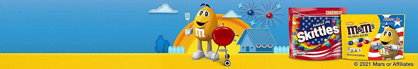 A bag of Skittles and a bag of M&M's. © 2021 Mars or Affiliates.