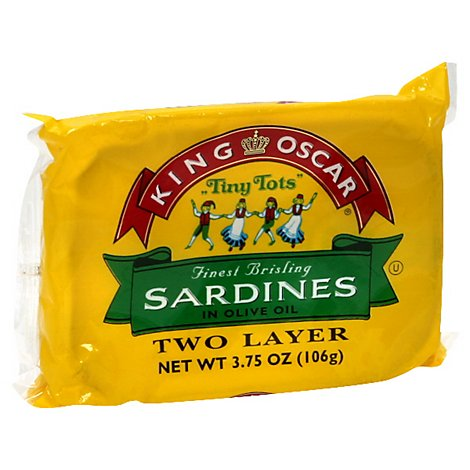 King Oscar Tiny Tots Sardines in Olive Oil Two Layer - 3.75 Oz