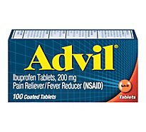 Advil Pain Reliever/Fever Reducer Coated Tablet Ibuprofen Temporary Pain Relief - 100 Count