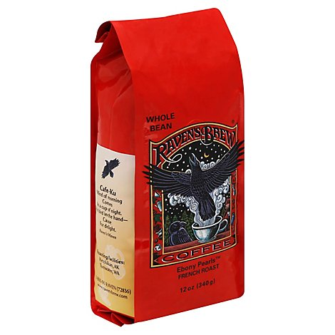 Ravens Brew Coffee Coffee Ebony Pearls Whole Bean French Roast - 12 Oz