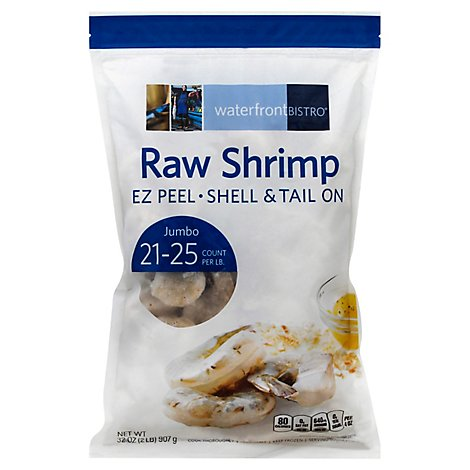 waterfront BISTRO Shrimp Raw Ez Peel Shell & Tail On Jumbo 21 To 25 Count - 32 Oz