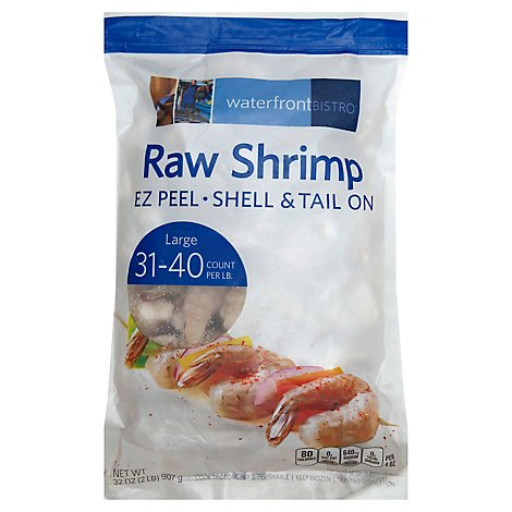 waterfront BISTRO Shrimp Raw Ez Peel Shell & Tail On 31 To 40 Count - 32 Oz