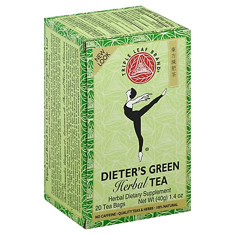 Triple Leaf Tea Herbal Tea No Caffeine Dieters Green - 20 Count
