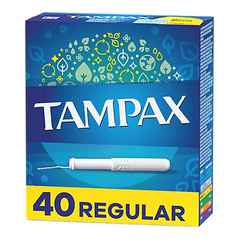 Tampax Tampons Cardboard Applicator Regular Absorbency Unscented - 40 Count
