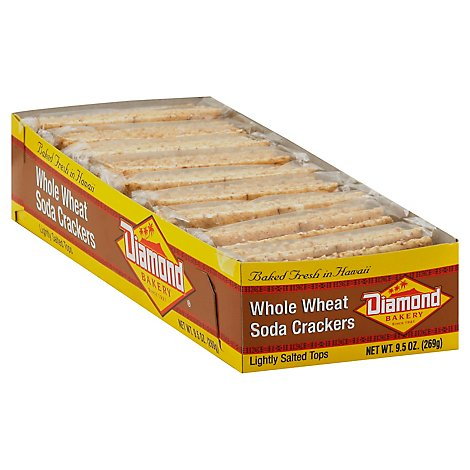 Diamond Bakery Crackers Soda Lightly Salted Tops Whole Wheat - 9.5 Oz
