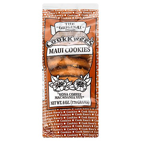 Cookkwees Kona Coffee Macadamia Nut Cookies - 6 Oz