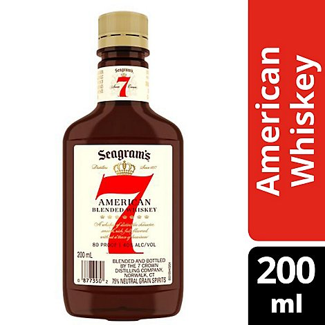 Seagrams 7 Crown Blended Whisky 80 Proof - 200 Ml