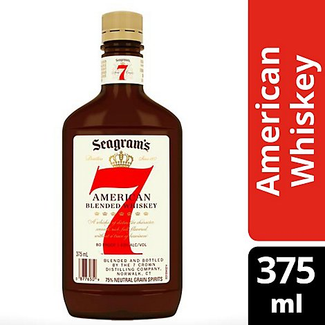 Seagrams 7 Crown Whiskey Blended American 80 Proof - 375 Ml