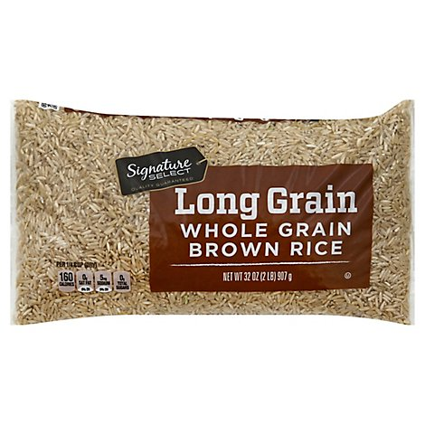 Signature SELECT Rice Brown Whole Grain Long Grain - 32 Oz