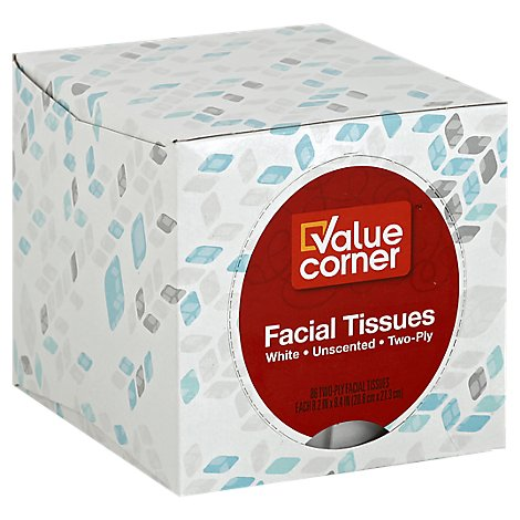 Value Corner Facial Tissue Unscented 2-Ply White Box - 86 Count